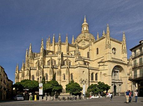 Segovia, Spain, Cathedral, Spires, Buildings