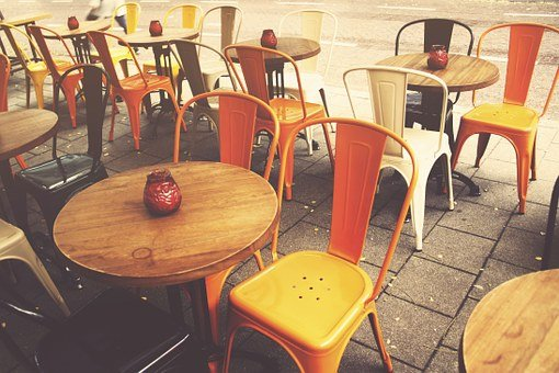 Cafe, Sidewalk Cafe, Sidewalk, City, Street, Chairs