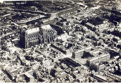Amiens, Aerial View, Historic, City, Cathedral, France