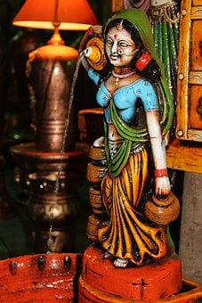 Ceramic, Statue, Water, Brown, Blue, Colorful, Indian