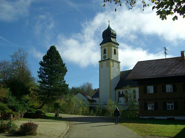 Ruins, Steeple, Church, St Peter And Paul, Allgäu, Blue