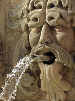 Fountain, Water, Flow, Water Feature, Gargoyle, Clear