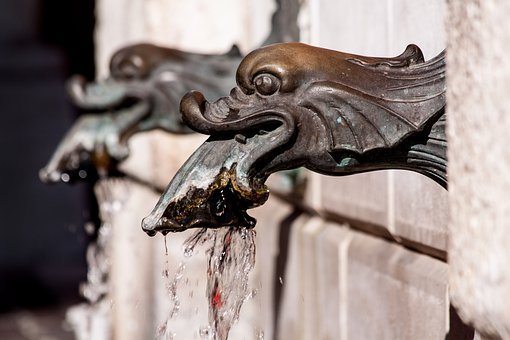 Fountain, Fish Heads, Fish Market, Decorative Fountains