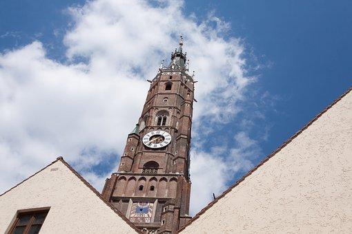 Steeple, Landshut, Bavaria, Germany, Sun, Building