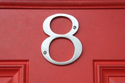 Number 8, Door, Close-up, Number, Metal, Home, Metallic