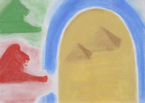 Drawing, Painting, Image, Children, Lion, Pyramids