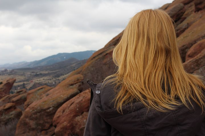 Red Head, Girl, Nature, View, Woman, Mountain