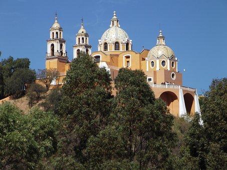 Mexico, Puebla, Cholula, Churches, Places, People