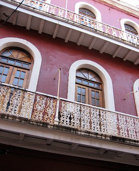 Puerto Rico, Building, Porches, Old Building, Red