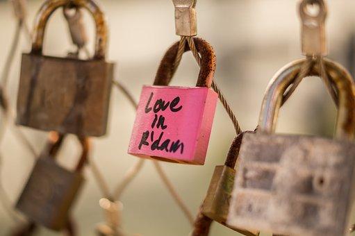 Rotterdam, Lock, Pink, Love, Bridge, Rust, Locks, Fence