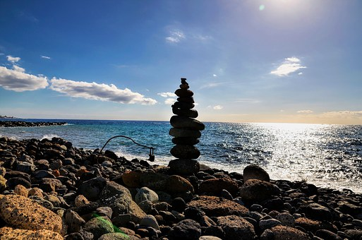 Shadow, Stone, Balance, Sea, Beach, Aginst The Light