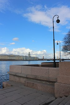 St Petersburg, Blue, River, Water, Homes