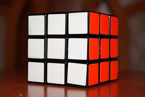 Rubik, Cube, Puzzle, Strategy, 3d, Red, White, Solved