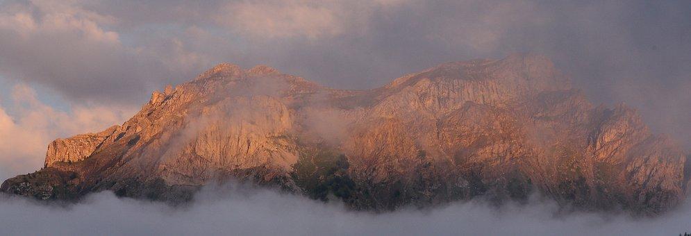 Barcelonette, Sunset, 3 Nozzles, France, Mountain, Fog