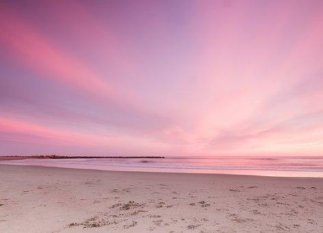 Sunset, Beach, The Sky, Horizon, Pink, Seascape