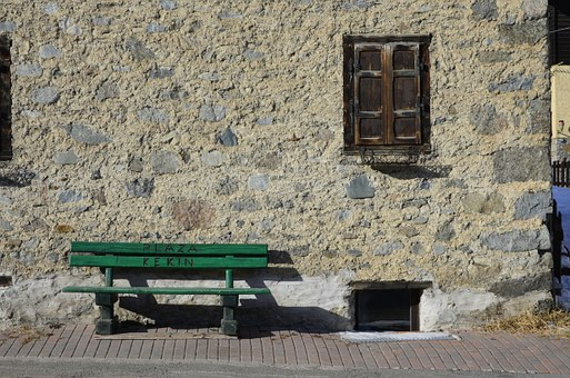 Green Bench, In Front Of The House, Wall Of Stone