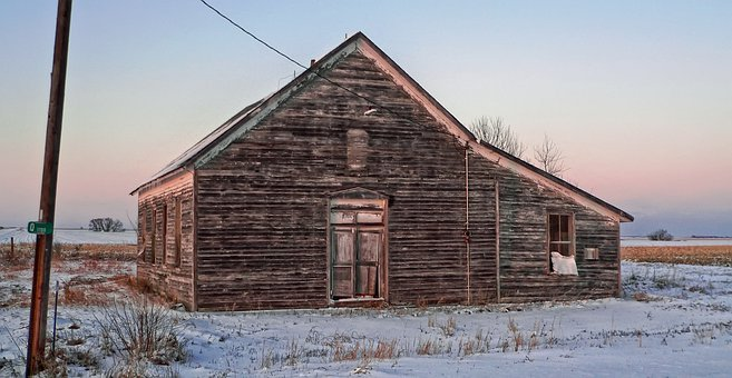 Building, Structure, Abandoned, Vacant, Winter, Snow