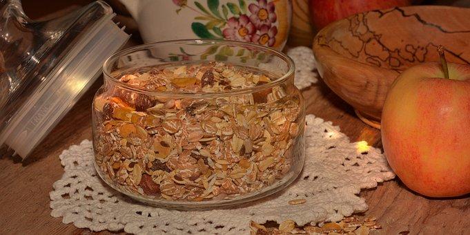 Muesli, Healthy, Breakfast Cereal, Raisins, Apple