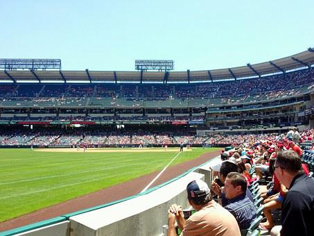 Angels Stadium, Baseball, Fans, Outfield, Foul, Line