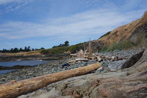 Victoria, Bc, Ocean, Shore, Landscape, Stone Beach