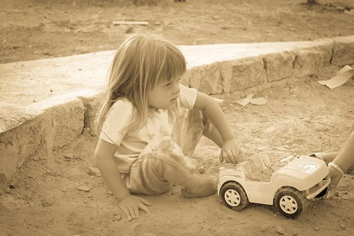 Blonde, Child, Linda, Playing Cart, Playing In The Sand