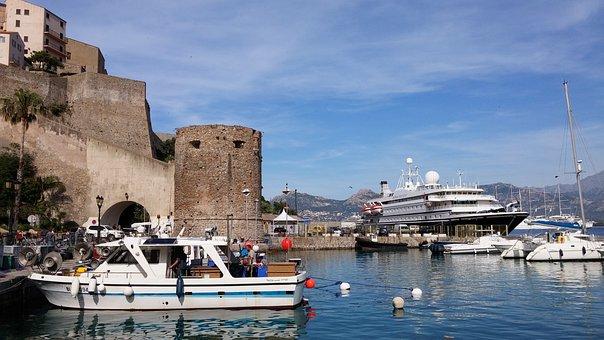 Corsica, Harbour Entrance, Ship, Boats, Castle, Booked