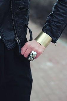 Wide, Bangle, Bracelet, Gold-tone, Gold, Polished, Hand