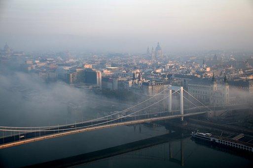 Budapest, Bridge, Fog, Dawn, Elizabeth Bridge