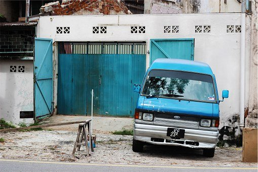 Ford, Van, Blue, Garage, Automotive, Driveway