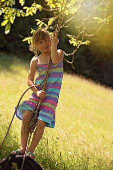 Person, Human, Child, Girl, Rock, Tire Swing, Summer