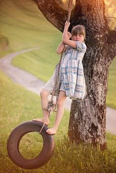 Person, Human, Child, Girl, Female, Blond, Tire Swing