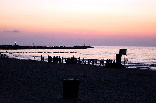 Beach, Human, Abendstimmung, Mole, Port, Baltic Sea