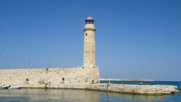 Harbour Entrance, Crete, Lighthouse, Rethymno, Mole