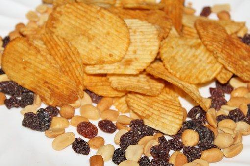 Snacks, Potato Chips, Raisins, Peanuts
