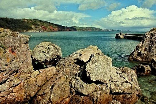 Babbacombe, Devon, Beach, Coast, Coastal, Cliff, Sea