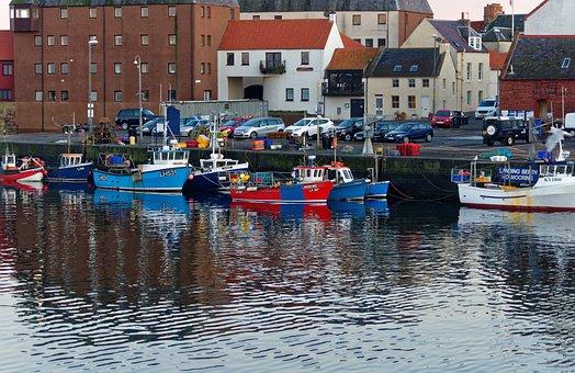 Harbor, Dunbar Harbour, Entrance, Harbour, Sea, Water