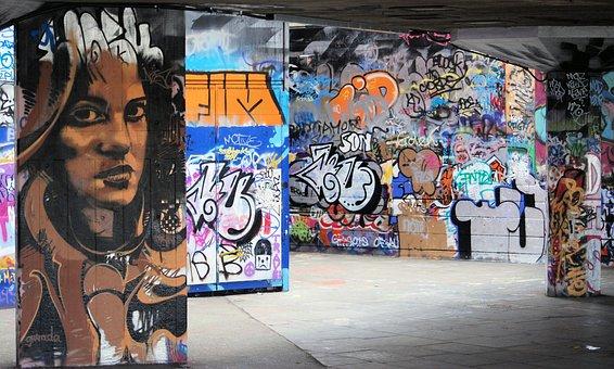 Graffiti, Mural, South Bank, Undercroft, London