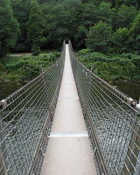 Swing Bridge, Bridge, River, Swing, Nature, Water, Rope