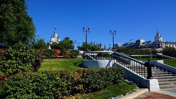 Khabarovsk, Komsomolskaya Square, Temple, City Park