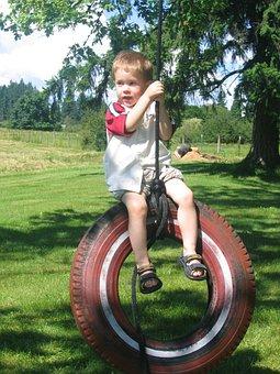 Tireswing, Swing, Tire, Child, Boy, Play, Summer, Tree