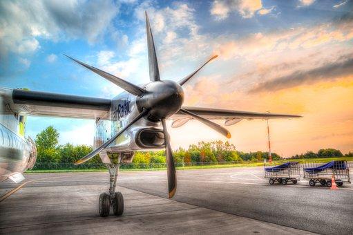 Plane, Airport, Morning, Bombardier, Hdr, Sunrise