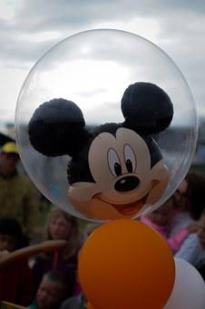 Mickey Mouse, Balloon, Helium, Childhood, Disney