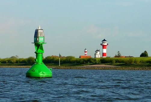 Elbe, Waterway, Daymark, Lighthouse, Beacon, Shipping