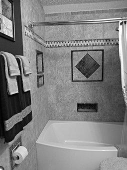 Bath, Black And White, House, White, Black, Bathroom