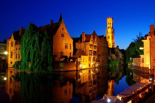 Bruges, Night, Historic Center, Illumination, Channel
