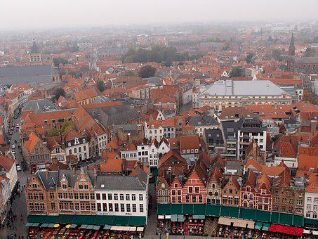 Bruges, The Medieval City, Old Town, Houses, Red Roof