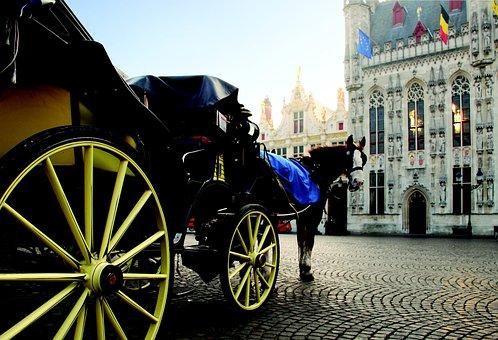 Carriage, Horse, Wheels, Beautiful, Bruges, Belgium