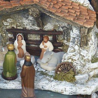 Crib, Christmas, Nativity Scene, Father Christmas