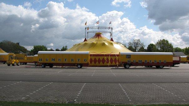 Circus, Circus Cars, Circus Tent, Yellow Red