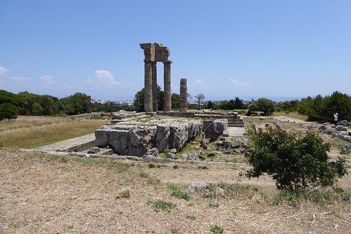 Temple, Apollo, Columns, Rhodes